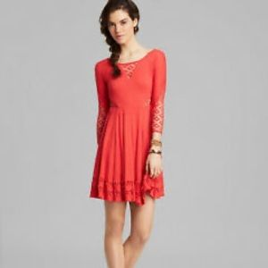 Free People Red To The Point Lace Swing Dress